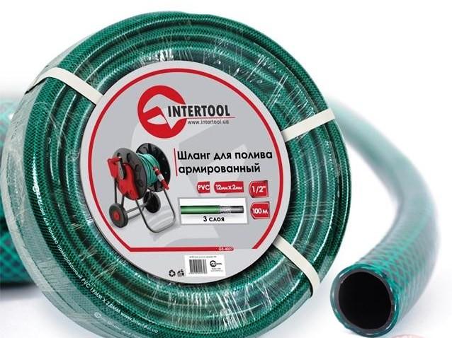 """Шланг поливочный """"Intertool"""" зеленый 3-х слойный арт. GE-4027 сечение 1/2"""", длина 100 м"""