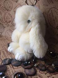 Кролик брелок из натурального меха БРЕЛКИ КРОЛИКИ 18 СМ белый