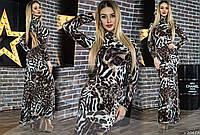Женское платье макси леопардового принта
