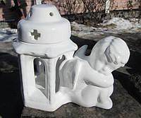 Подсвечник с ангелом керамика с глазурью 18 см