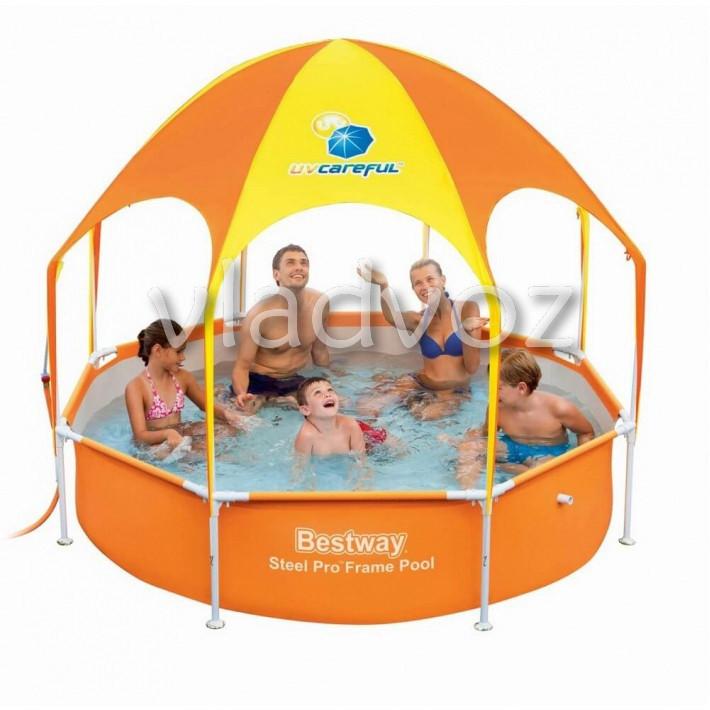 Каркасный бассейн с навесом bestway 56432 244*51см.