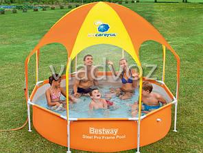 Каркасный бассейн для дачи с навесом bestway 56432 244*51см., фото 2