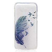 Чехол накладка силиконовый TPU Printing для Samsung Galaxy A5 2017 A520 Feather and Birds