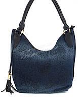Стильная легкая женская сумка с джинсовой ткани art. 1026 синий джинс