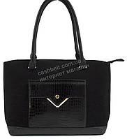 Стильная элегантная женская сумка с замшевой лицевой частью с лаковым карманом art. 977 черная