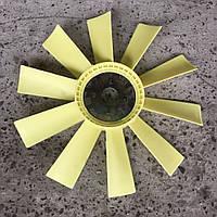 Крыльчатка вентилятора (под 4-е болта) (пластик) (желтая) 550мм Вентилятор ЯМЗ-238М2,М (10лопастей) (238-1308012)
