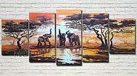 """Модульная картина """"Слоны на закате"""" масло, холст!"""