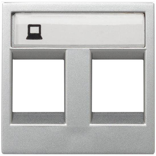 ABB Zenit Лицевая панель двойных комуникационных розеток (2 модуля) серебро