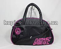 Черная женская сумка для фитнеса с розовым логотипом