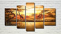"Модульная картина ""Жирафы на закате"" масло, холст!"