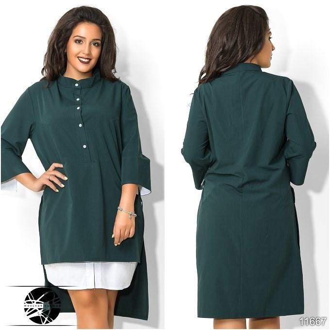 765b07a4dd2 Женское асимметричное платье-рубашка темно-зеленого цвета с рукавом 3 4.  Модель