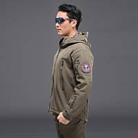 Тактическая куртка олива Soft shell+Подарок Такт Очки.
