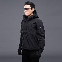 Куртка тактическая черная Soft shell+Подарок Такт Очки.