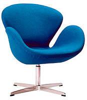 Дизайнерское кресло СВ точная копия SWAN кашемировое синее