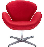 Дизайнерское кресло СВ точная копия SWAN кашемировое красный