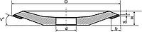 """Алмазный шлиф.круг """" Тарелка """" (А4Т) формы-12D4 D-125мм*H-11мм*b-4мм*V⁰-20⁰*S-2мм АС4 125/100 В2-01 100%"""
