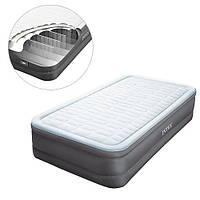 Надувная велюровая кровать Intex (64482) 191-99-46 см,с электронасосм