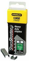 Скоби тип G 6мм (Степлер 6-TR250, 6-TR151Y) 1000шт Stanley 1-TRA704T | скобы