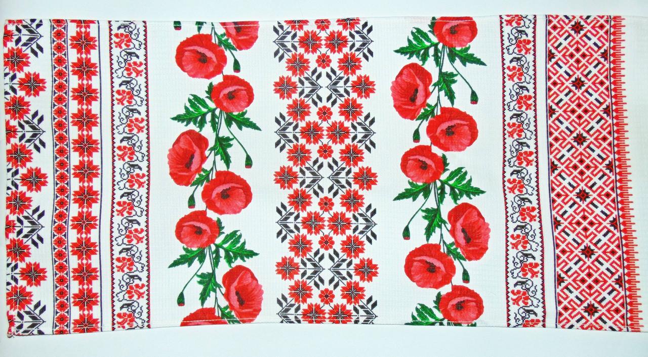 """Кухонное вафельное полотенце """"Маки мини-орнамент"""" 75х35см"""