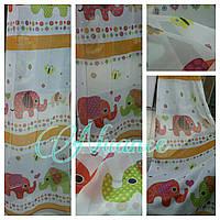 Тюль вуаль с детским рисунком Слоники №05 цвет оранжевый