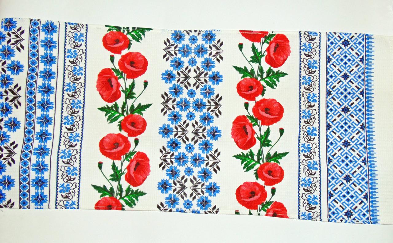 """Вафельное полотенце """"Маки мини-орнамент""""синий 75х35см"""