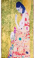 """Интересный женский шелковый шарф 42*158 см ETERNO репродукция картины Густава Климта """"Надежда II"""" ES1501-18"""