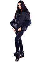 Теплая короткая зимняя куртка оригинального кроя Куба черный