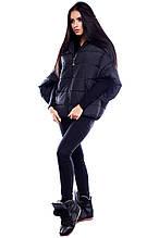 """Теплая короткая зимняя куртка оригинального кроя Куба черный """"KR"""""""