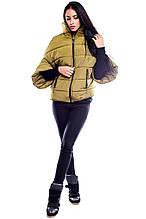 """Теплая короткая зимняя куртка оригинального кроя Куба оливковый """"KR"""""""