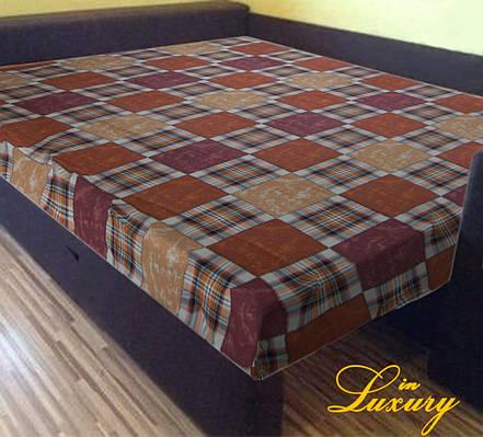 "Простынь на резинке 140х200 см ""Шотландка оранжево-коричневая"" in Luxury™ 32013"