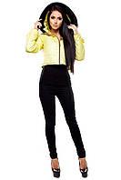 Укороченная женская куртка Кристалл светло-желтый