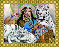 Схема для вышивки бисером «Женщина с тиграми»