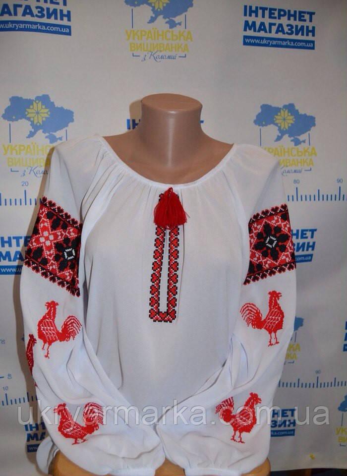 """Вишита жіноча блузка """"Червоні півні"""""""