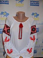 """Вишита жіноча блузка """"Червоні півні"""", фото 1"""