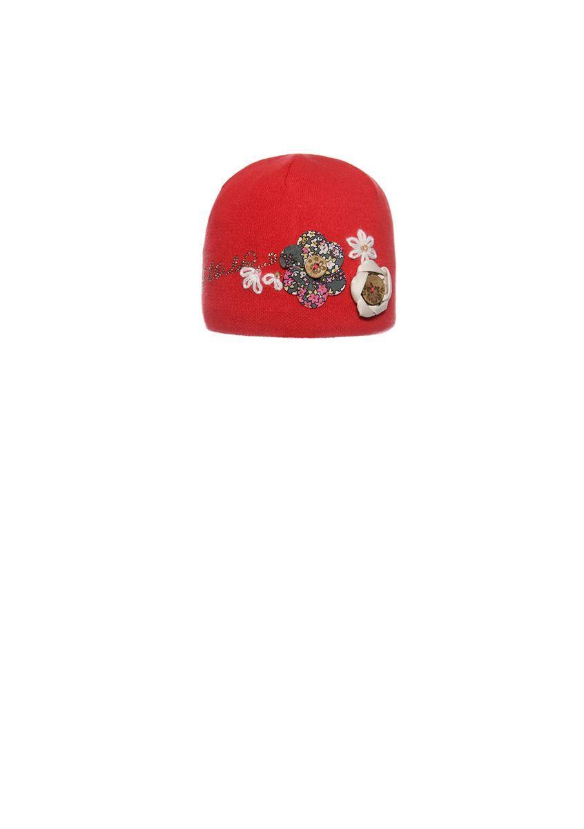 Демісезонна котонові шапочка з квітами для дівчинки