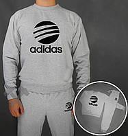Спортивный костюм Adidas серого цвета цвета с черным логотипом на груди, фото 1