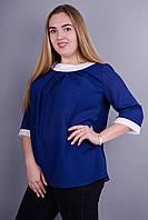 Рената. Стильная блуза супер батал. Синий., фото 1