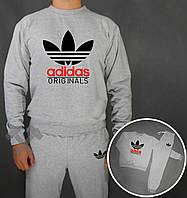 Спортивный костюм Adidas Old Skool серого цвета цвета с черно-красным логотипом на груди