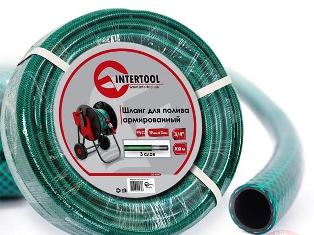 """Шланг поливочный """"Intertool"""" зеленый 3-х слойный арт. GE-4047 сечение 3/4"""", длина 100 м"""