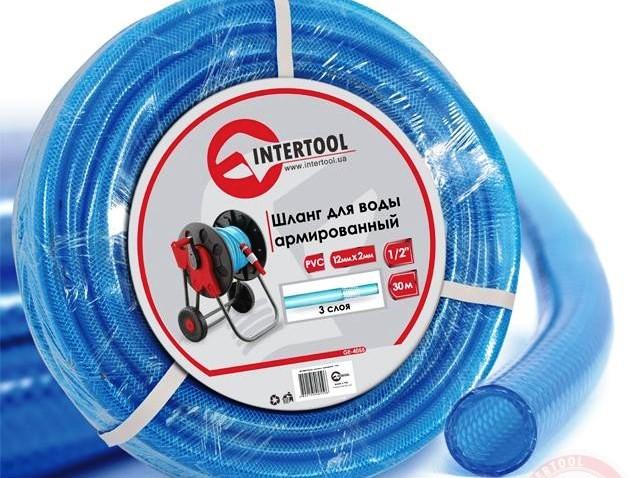 """Шланг поливочный """"Intertool"""" синий 3-х слойный арт. GE-4055 сечение 1/2"""", длина 30 м"""