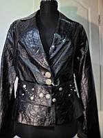 Пиджак из натуральной кожи чёрный на пуговицах+пояс длина-55см  46р ОГ-94 ОБ-96
