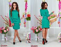 Модный женский зелёный костюм топ+юбка. Арт-5354/53