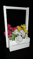 Нежные искусственные розы с листиками (букеты искусственных цветов), выс. 20 см., 50 шт., 6.07 гр./шт.