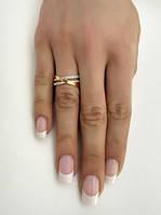 Серебряное кольцо 925 пробы с золотой вставкой