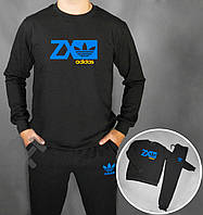 Спортивный костюм Adidas ZX черного цвета с синим логотипом