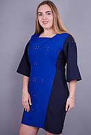 Лира. Стильное платье больших размеров. Электрик., фото 1