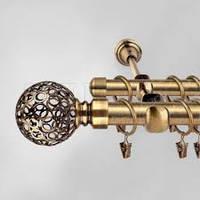 Двойной кованный карниз цвет золото -3 м.шар19+16мм