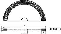 "Алмазный круг отрезной для сухой резки (Тип 1A1R-C ""TURBO"") D-250мм*T-1.6мм*X-10.0мм"