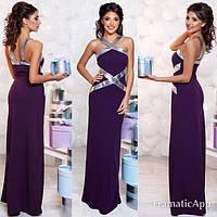 Элегантное платье в пол цвета баклажан со вставками эко-кожи  . Арт-5366/54