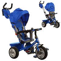 Велосипед M 3205A-1 гумові колеса 3 шт., кермо, сумка, синій.